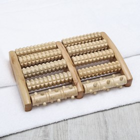 Массажёр «Барабаны», 5 рядов с шипами, деревянный
