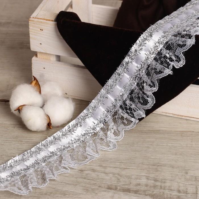 Тесьма, гипюр на атласе с фольгой, 5 см, в рулоне 25 м - фото 687259