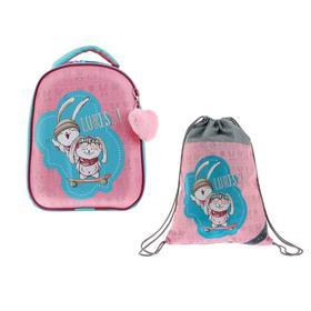 Рюкзак каркасный, Luris «Джой 1», 38 х 30 х 17 см, наполнение: мешок для обуви, «Зайчики»