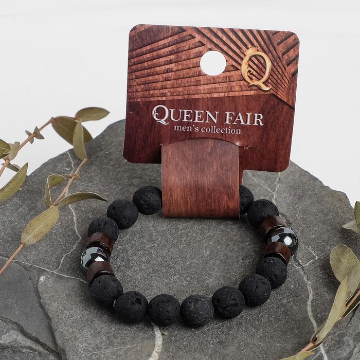 """Браслет унисекс """"Бастион"""" лава с деревом, цвет чёрно-коричневый, шар №10, d=6 см"""
