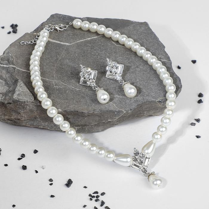 """Набор 2 предмета: серьги, колье """"Антуанетта"""" гранж, цвет белый в серебре"""