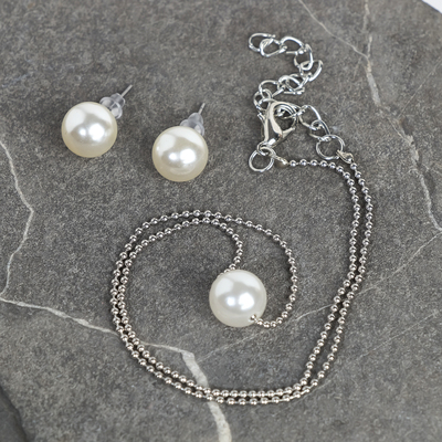 """Set of 2 items: earrings, pendant """"pearl of the sea"""" beads, color white silver"""