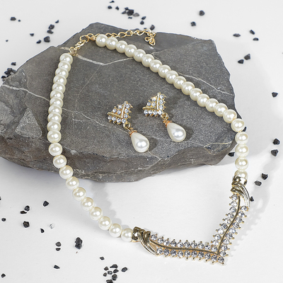 """Set of 2 pieces: earrings, necklace """"Antoinette"""" sparkle, white gold"""
