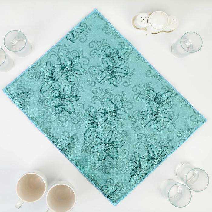Салфетка для сушки посуды Доляна «Орхидеи», 38×50 см, микрофибра, цвет голубой