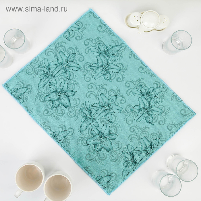 """Mat for drying dishes 38х50 cm """"Orchid"""", the color blue"""