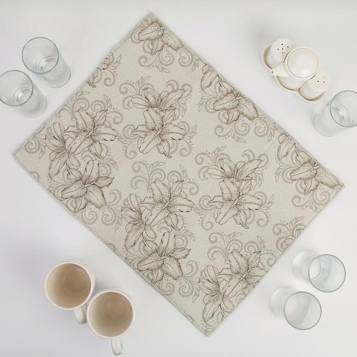 Салфетка для сушки посуды Доляна «Орхидеи», 38×50 см, микрофибра, цвет серый