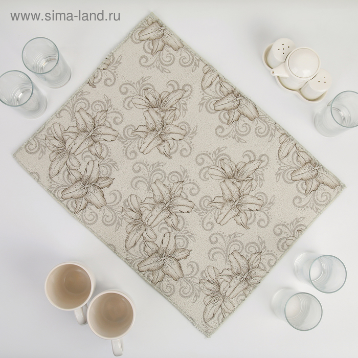 """Mat for drying dishes 38х50 cm """"Orchid"""", the color gray"""
