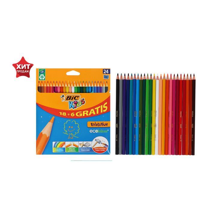 Карандаши 18 + 6 цветов, BIC Kids Evolution