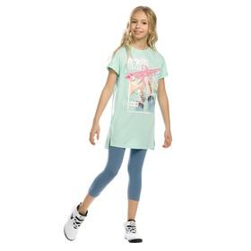 Комплект для девочки из туники и лосин, рост 140 см, цвет ментол
