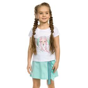 Комплект из футболки и юбки для девочки, рост 104 см, цвет белый