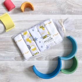 Набор платочков-слюнявчиков Mjölk 25 х 25 см, Mustard Spots, 5 шт.