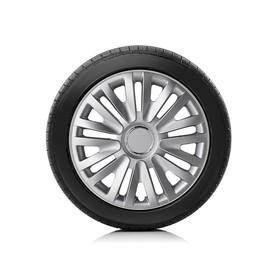 Колпаки колесные Autoprofi R14, PP пластик, регулировочный обод, металлик, 350мм, 4 шт