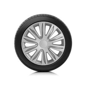Колпаки колесные AUTOPROFI R16, PP пластик, регулировочный обод, металлик, 400 мм, 4 шт