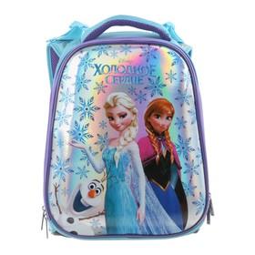 """Рюкзак каркасный Disney 37 х 29 х 17, для девочки """"Холодное сердце"""", синий"""