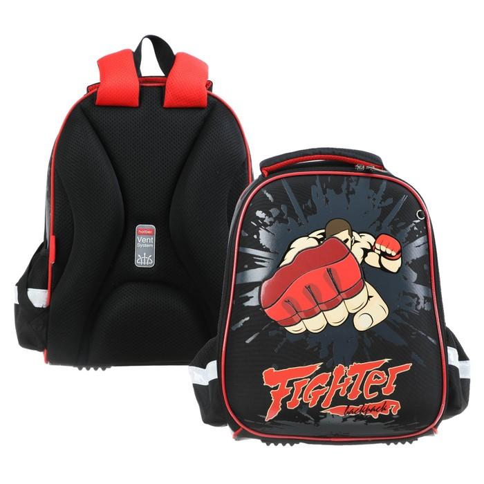 Рюкзак каркасный Hatber Ergonomic light 38 х 29 х 11, для мальчика Fighter, чёрный - фото 742141