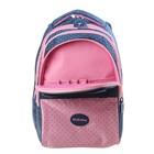 """Рюкзак школьный Hatber Sreet 42 х 30 х 20, для девочки """"Мяу"""", синий/розовый - фото 742296"""