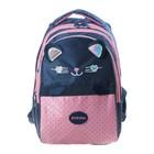 """Рюкзак школьный Hatber Sreet 42 х 30 х 20, для девочки """"Мяу"""", синий/розовый - фото 742285"""