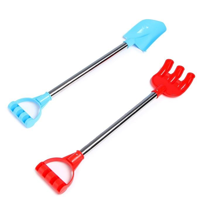 Набор «Лопатка и грабли», с металлической ручкой, цвета МИКС