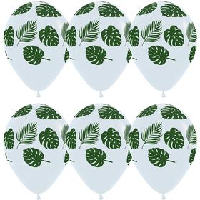 """Шар латексный 12"""" «Зелёные листья», пастель, 5-сторонний, набор 50 шт., цвет белый"""