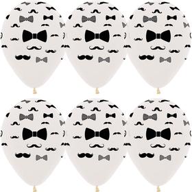 "Шар латексный 12"" «Джентльмен: усы и галстук-бабочка», кристалл, 5-сторонний, набор 50 шт."