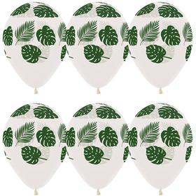 """Шар латексный 12"""" «Зелёные листья», кристалл, 5-сторонний, набор 50 шт."""