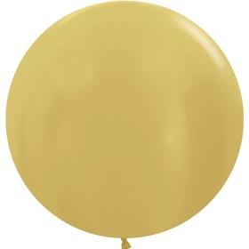 """Шар латексный 24"""", металлик, набор 3 шт., цвет яркое золото"""