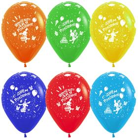 """Шар латексный 12"""" «Весёлого дня рождения!», пастель, 5-сторонний, набор 50 шт., МИКС"""