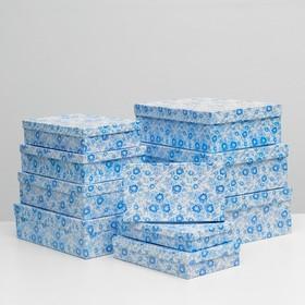 """Набор коробок 10 в 1 """"Гжель"""", 36,5 х 26,5 х 12 - 23 х 13 х 3 см"""