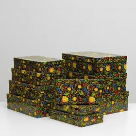 "Набор коробок 10 в 1 ""Хохлома"", 36,5 х 26,5 х 12 - 23 х 13 х 3 см"