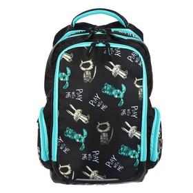 Рюкзак школьный, Luris «Тайлер», 40 х 29 х 17 см, эргономичная спинка, «Карикатура», чёрный