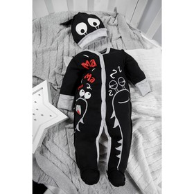 Комбинезон слип с шапочкой Monsters «Чёрная коллекция», рост 62 см