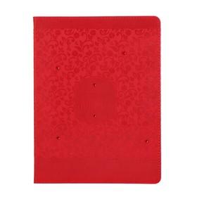 """Дневник искусственная кожа, для 1-11 классов, """"Паттерн Красный"""", тиснение, стразы, со справочными материалами"""