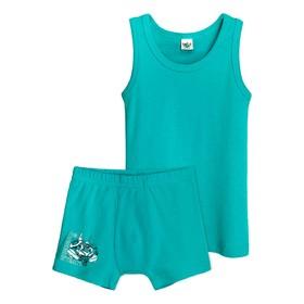 Комплект для мальчика из майки и трусов, рост 122-128 см, цвет бирюзовый