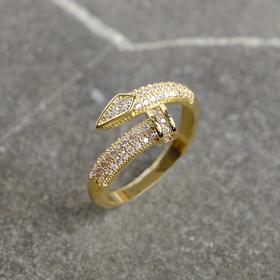 """Кольцо """"Гвоздик"""" безразмерное, цвет белый в золоте"""