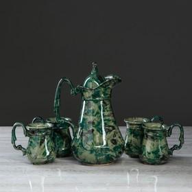 """Компотный набор """"Бажовские мотивы"""", под малахит, цвет зеленый, 5 предметов: кувшин 1.6, чашки 0.3 л"""