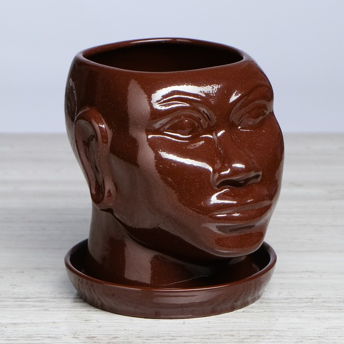 """Кашпо """"Голова африканки"""", глазурь, коричневый, 1.4 л - фото 841173"""