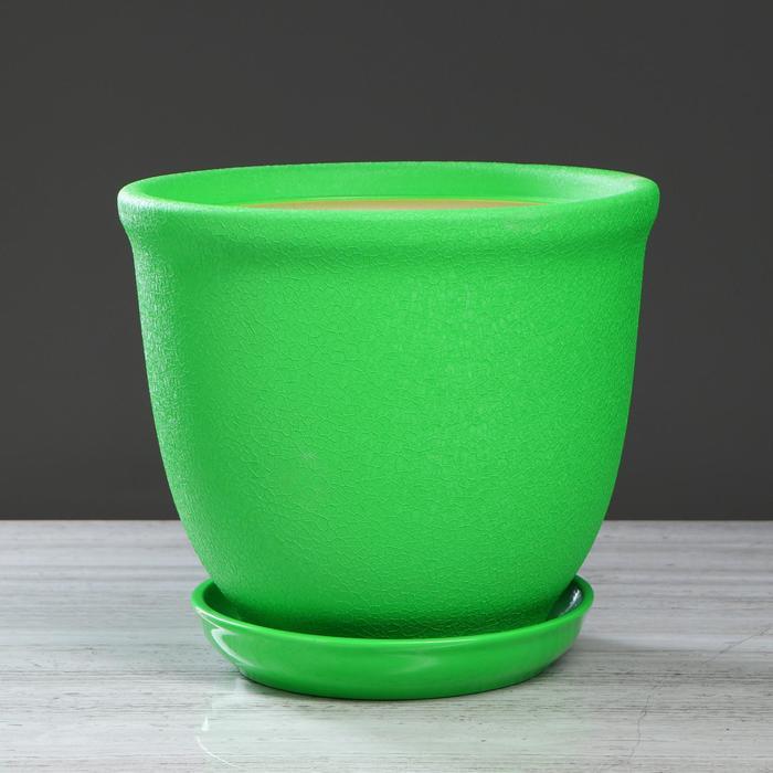"""Цветочный горшок """"Глория"""" 14 л, зелёный, шёлк, 1 сорт"""
