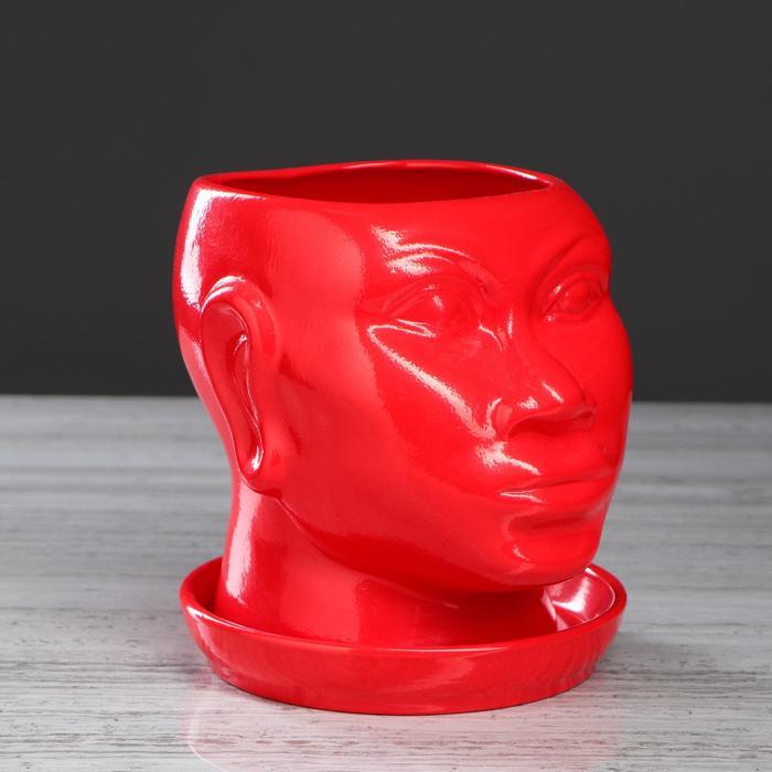 """Кашпо """"Голова африканки"""", глазурь, красный, 1.4 л"""