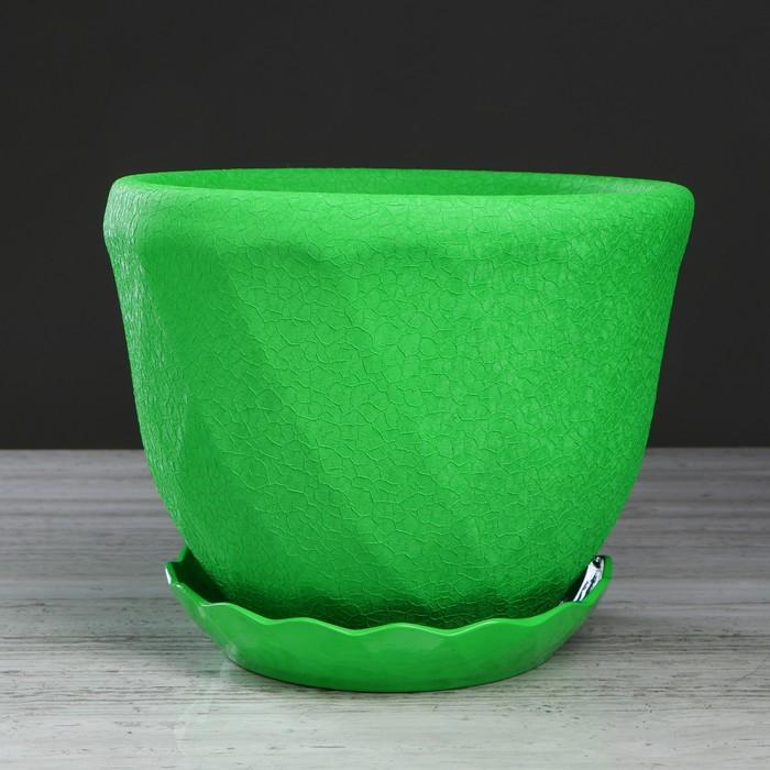 """Горшок для цветов """"Грань"""" 6,5 л, шёлк, зелёный"""