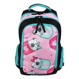 """Рюкзак школьный с эргономичной спинкой Luris """"Тайлер"""", 40 х 29 х 17, для девочки """"Мопс"""", чёрный/розовый"""