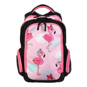 Рюкзак школьный, Luris «Тайлер», 40 х 29 х 17 см, эргономичная спинка, «Фламинго», чёрный/розовый
