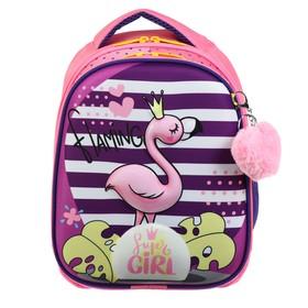 Рюкзак каркасный, Luris «Джерри 4», 38 х 28 х 18 см, 3D-рисунок, «Фламинго»