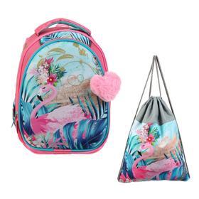Рюкзак каркасный, Luris «Джой 2», 38 х 27 х 19 см, наполнение: мешок для обуви, «Фламинго»