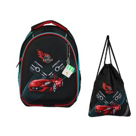 Рюкзак каркасный, Luris «Джой 2», 38 х 27 х 19 см, наполнение: мешок для обуви, «Машина»