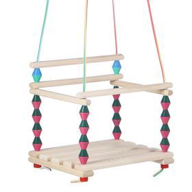 Качели детские подвесные, деревянные, сиденье 33×27см