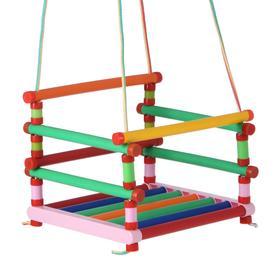 Качели детские подвесные, пластмассовые, 33×27см с доп. ограждением, металлическое кольцо
