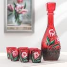Набор питьевой «Тюльпан», 7 предметов: графин 500 мл графский, 6 стопок 50 мл, рубин