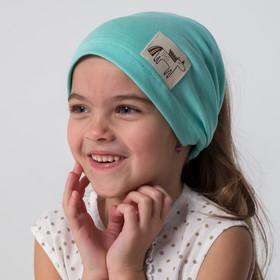 Косынка для девочки, цвет мятный/единорог, размер 46-50