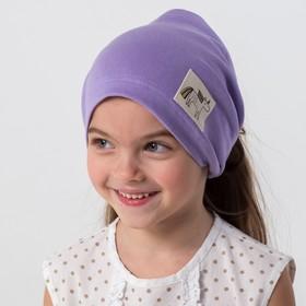 Косынка для девочки, цвет сиреневый/единорог, размер 54-58