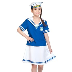Карнавальный костюм «Морячка», рубашка, юбка, бескозырка, рост 140-146 см